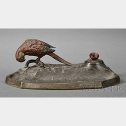 Waterman's Cold-painted Bronze Pen Stand with a Parrot