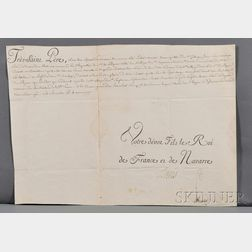 Louis XVI, King of France (1754-1793) Partially Printed Document Signed.