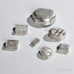 Five English Sterling Silver Vinaigrettes