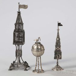 Three Continental Silver Spice Containers
