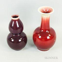 Two Jingdezhen Flambe-glazed Vases