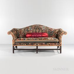 Camel-back Sofa with Needlepoint Upholstery