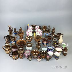 Large Group of Mostly Copper and Pink Lustre Ceramic Items.     Estimate $20-200