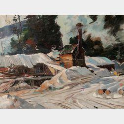 Aldro Thompson Hibbard (American, 1886-1972)      Sawmill at Winter