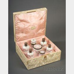 """Cased Seven Piece """"Sevres"""" Porcelain and Gold-washed  Silver Mounted Dresser Set"""