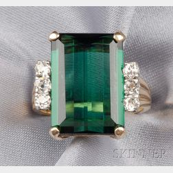 18kt Gold, Green Tourmaline, and Diamond Ring, Raymond Yard