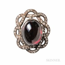 Antique Garnet and Diamond Brooch