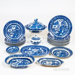 Group of Blue and White Willow Porcelain Tableware