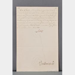 Louis XVIII, King of France (1755-1824) Document Signed.