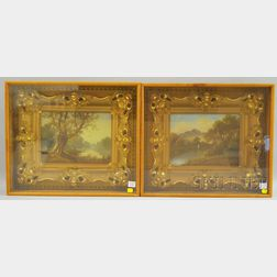 Pair of Small Oil on Canvas River Landscapes in Shadow Box Frames