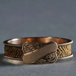 Hairwork Memorial Ring Reportedly with a Plaited Lock of George Washington's Hair