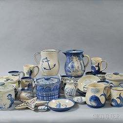 Twenty-five Pieces of Nautical-themed Dorchester Pottery