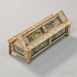 Bone and Glass Prisoner of War Cribbage Box with Dominoes