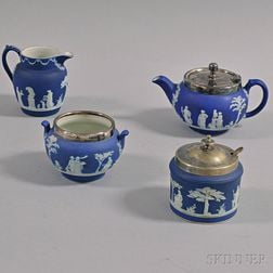 Five Wedgwood Dark Blue Jasperware Items