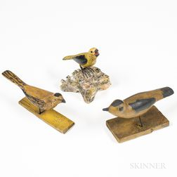 Three Carved and Painted Finches