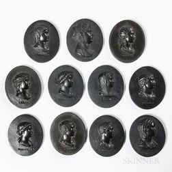 Eleven Wedgwood Black Basalt Portrait Medallions