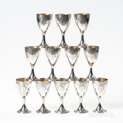 Twelve Georgian-style Silver Goblets
