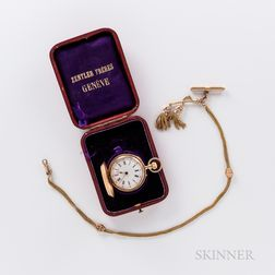 18kt Gold Hunter-case Pendant Watch and Chain