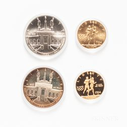 1984 Los Angeles Olympics Proof and Uncirculated Two-coin Sets.     Estimate $500-700