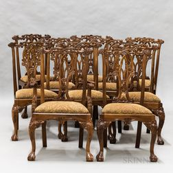 Ten Chippendale-style Mahogany Dining Chairs