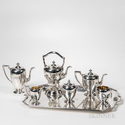Six-piece Dominick & Haff Sterling Silver Tea Service with Plated Tray