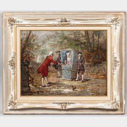 G. Borgelli (Italian, 19th Century)      Rococo Scene: The Sedan Chair