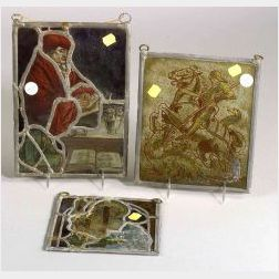 Three Small Stained and Caned Glass Panels