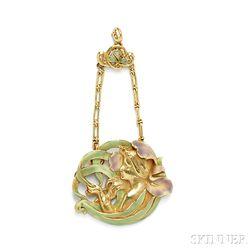 Art Nouveau 18kt Gold and Enamel Pendant, Andre Rambour