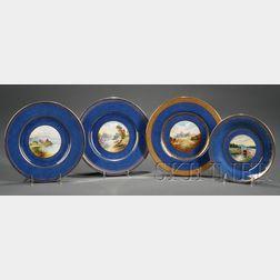 Four Wedgwood Handpainted Powder Blue Bone China Plates