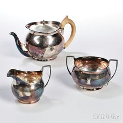 Assembled Three-piece George III Sterling Silver Tea Service