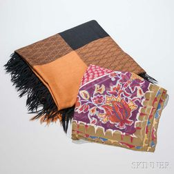 Ferragamo Black and Brown Wool Shawl and Missoni Multicolored Silk Scarf.     Estimate $60-80