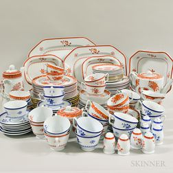 """Large Group of Copeland Spode Red and Blue """"Gloucester"""" Ceramic Tableware.     Estimate $500-700"""