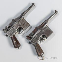 Two Mauser C96 Broomhandle Post-war Bolo Semi-automatic Pistols