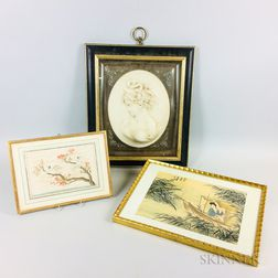 Two Framed Chinese Prints and a Ceramic Bust of a Woman