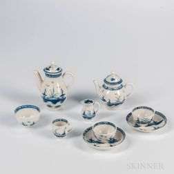 Assembled Caughley Porcelain Miniature Blue and White Partial Tea and Coffee Service