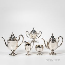 """Five-piece Gorham Sterling Silver """"Dolly Madison"""" Service"""