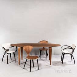 Norman Cherner Dining Table, Two Cherner Side Chairs, and Two Cherner Pretzel Armchairs