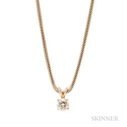 14kt Gold and Diamond Solitaire Pendant