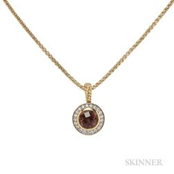 18kt Gold, Pink Tourmaline, and Diamond Pendant, David Yurman