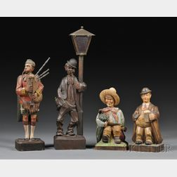 Four German Carved Whistlers