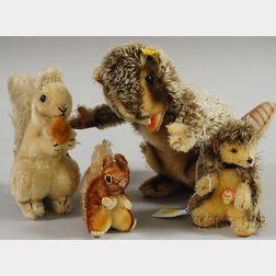 Steiff Mohair Chipmunk, Hedgehog, Squirrel, and Beaver