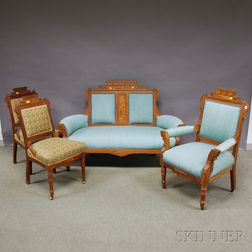 Four-piece Victorian Eastlake-type Upholstered Carved Walnut Parlor Suite