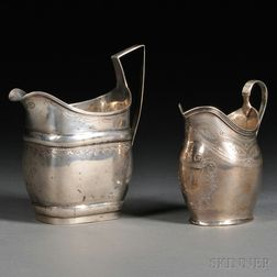 Two Classical Bright Cut Coin Silver Cream Pitchers