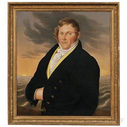 American School, 19th Century      Portrait of Captain Benjamin Thistle, Beverly, Massachusetts.