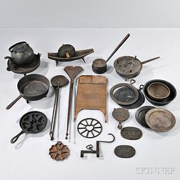 Twenty-one Cast and Wrought Iron Kitchen Wares