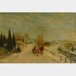 American School, 19th/20th Century      Winter Landscape with Horses Pulling a Logging Sledge.