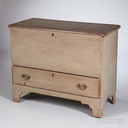 Gray/green-painted Chest over Drawer