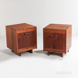 Two George Nakashima (1905-1990) Walnut and Maple Burlwood Kornblut End Tables