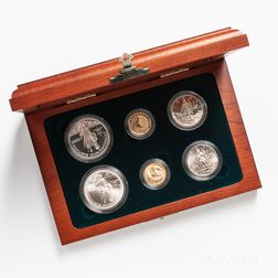 1992 Columbus Quincentenary Proof and Uncirculated Six-coin Set.     Estimate $500-700