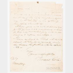 Cole, Thomas (1801-1848), Autograph Letter Signed, New York, 5 December 1847.